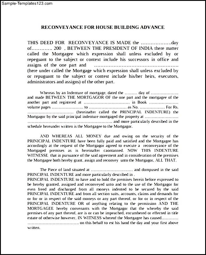Deed Of Re Conveyance Form Example Sample Templates
