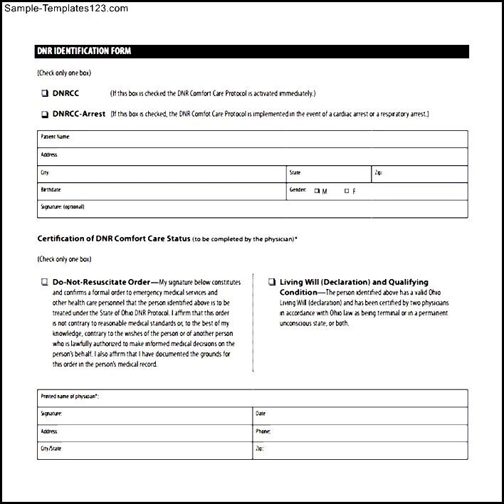 Do Not Resuscitate Identification Form - Sample Templates - Sample ...
