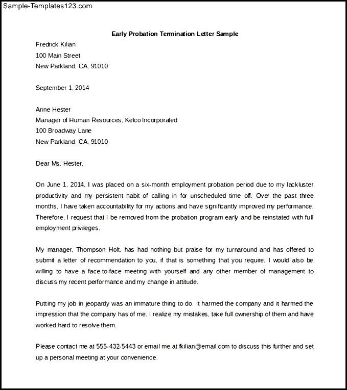 Download early probation termination letter template sample sample download early probation termination letter template sample spiritdancerdesigns
