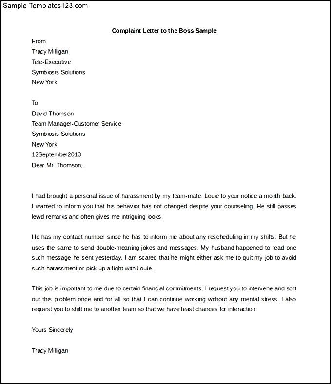 complaint letter against an employee on his misbehaviour sle - 28 ...