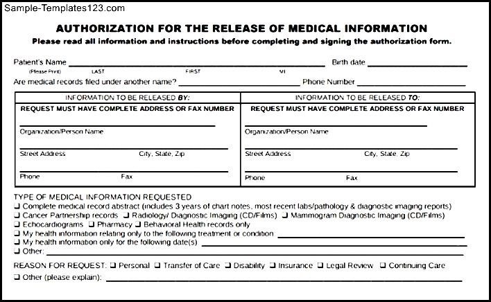 Download Example For Generic Medical Records Release Form - Sample ...