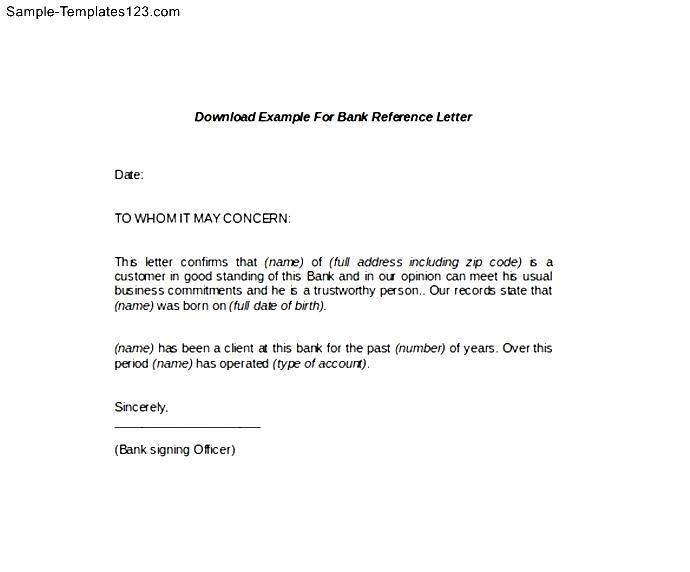 Financial Reference Letter Template | Reference Letter From Bank Image Collections Letter Format Formal
