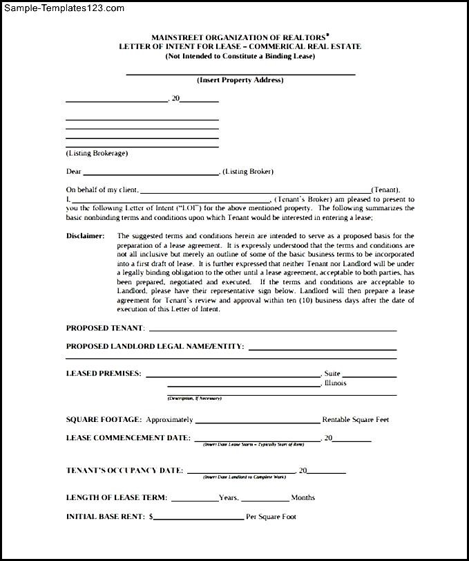 Sample letter of intent to renew commercial lease docoments ojazlink sample letter of intent to lease a e in mall spiritdancerdesigns Gallery