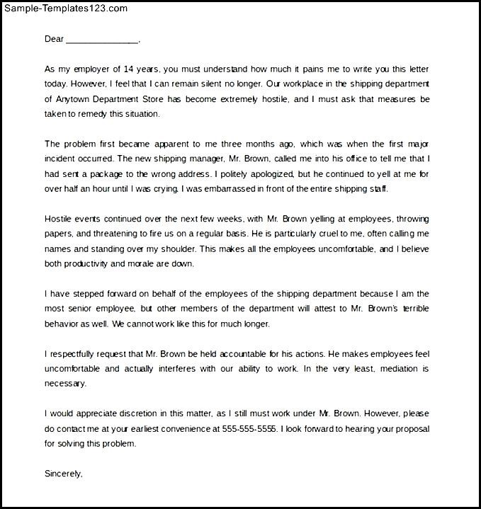 Download sample blank hostile work environment complaint letter download sample blank hostile work environment complaint letter spiritdancerdesigns Image collections