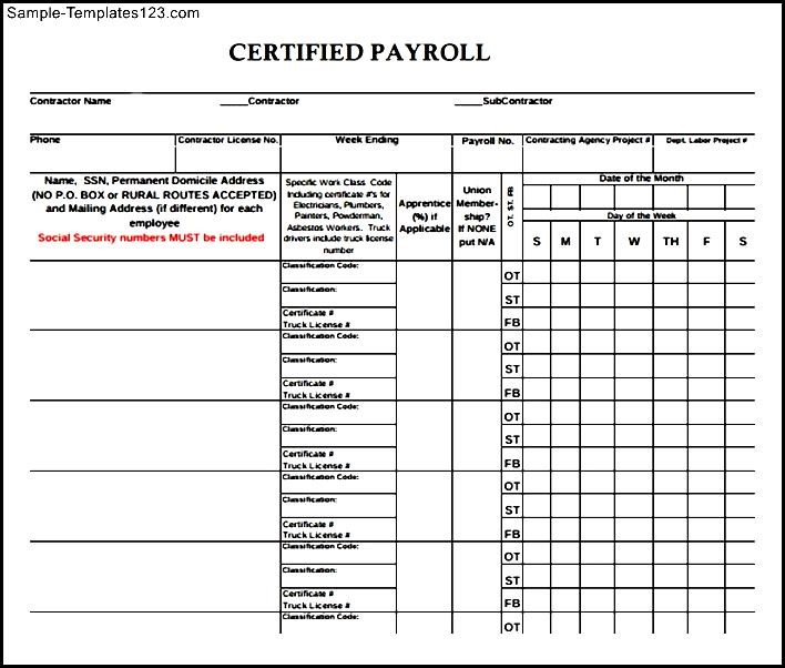 downloadable certified payroll form sample templates sample