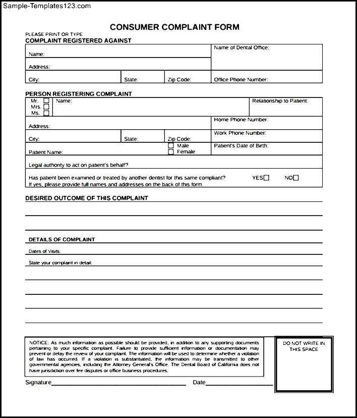 Downloadable Consumer Complaint Form - Sample Templates - Sample ...