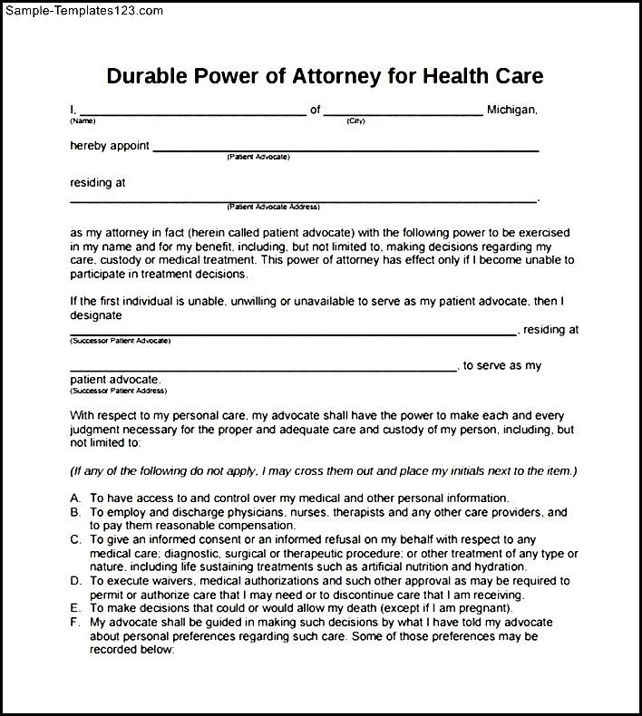 Blank Power Of Attorney Form | Durable Blank Power Of Attorney Form For Health Care Sample