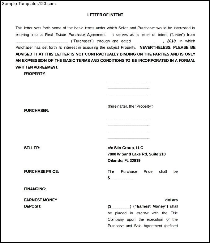 Real Estate Letter Of Intent Template