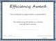 Efficiency Award Certificate Template