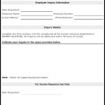 Employee Inquiry Sheet Template