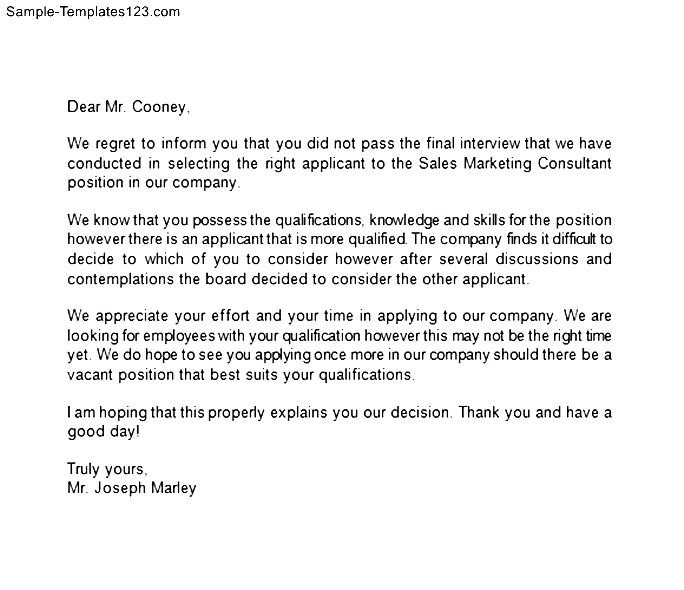 employer rejection letter to job applicant