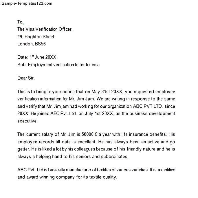 Employment Letter For Visa Verification Sample Templates Sample