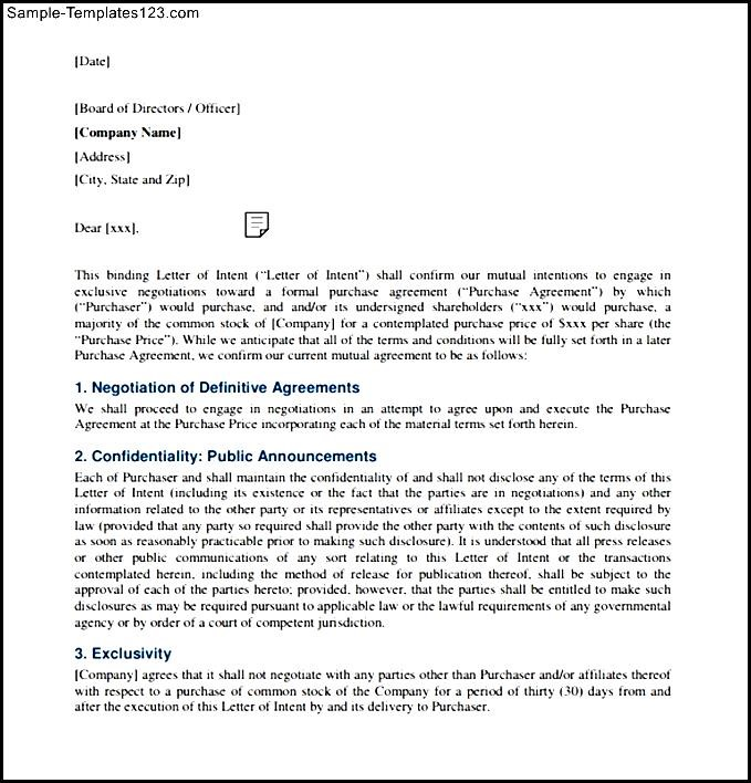 Employment Letter Of Intent Binding PDF Format