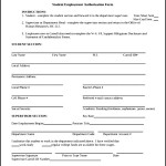 Employment Of Student Authorization form