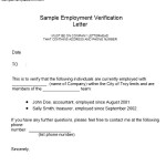 Employment Verification Letter Form