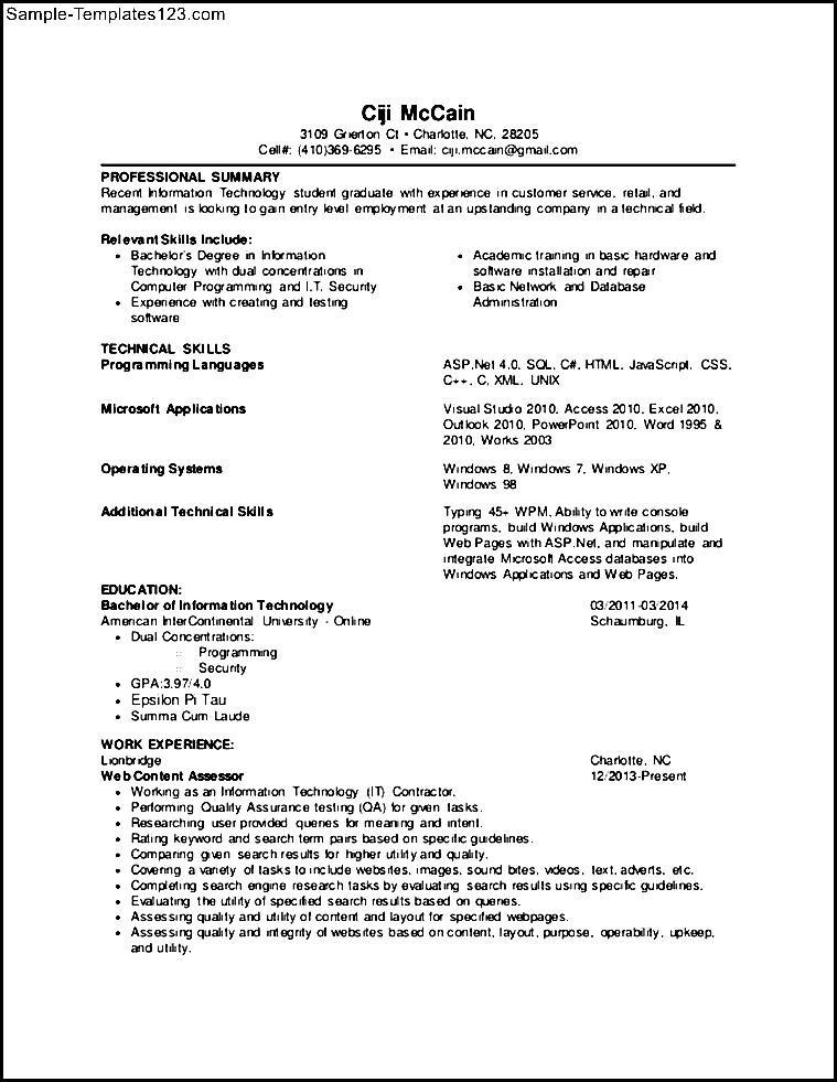 Entry Level Programmer Resume  NinjaTurtletechrepairsCo
