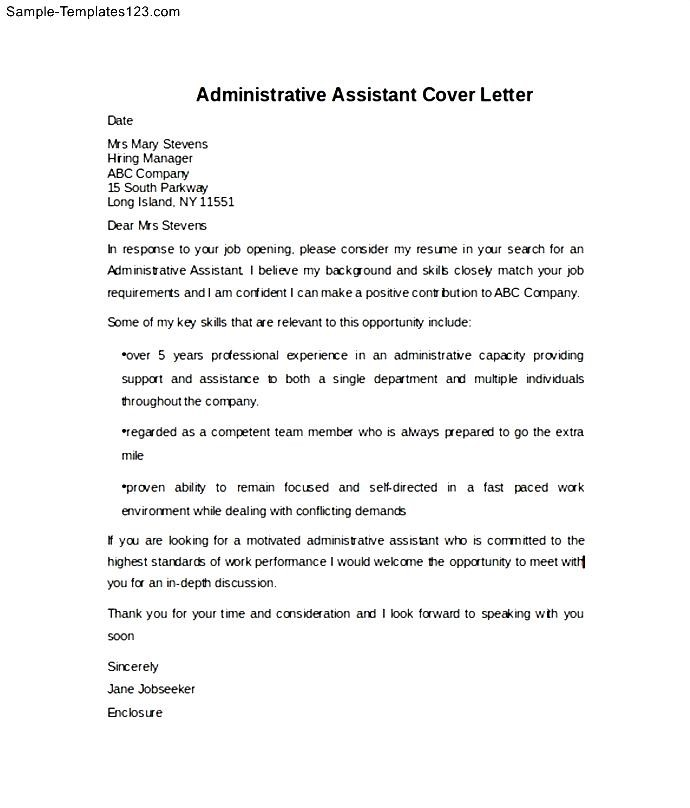 example of administrative assistant cover letter sample templates sample templates