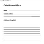 Example Of Patient Complaint Form