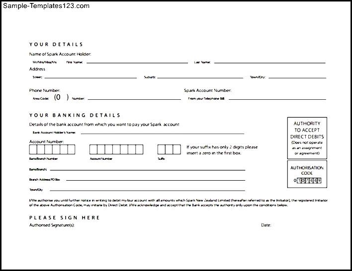 Example Of Direct Debit Form  Sample Templates  Sample Templates