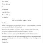 Example of Resignation Letter for Teacher