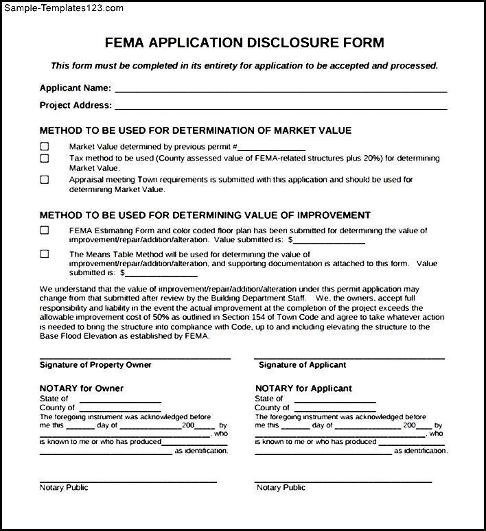 Fema Application Form | Fema Application Form Pdf Sample Templates Sample Templates