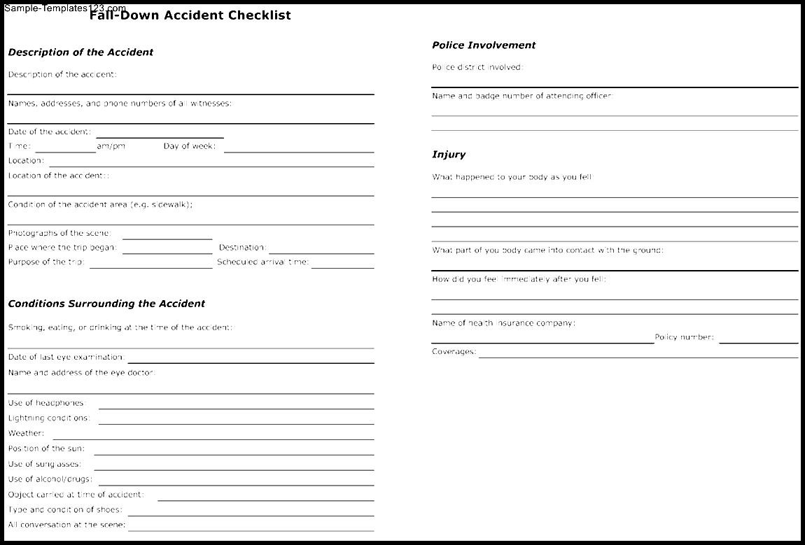 Fall Down Accident Checklist Template Sample Templates Sample