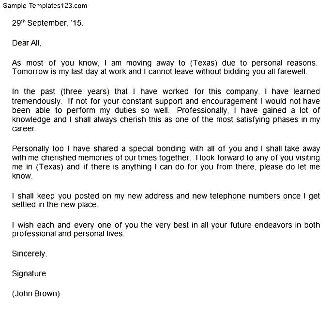 farewell letter to colleagues sample templates