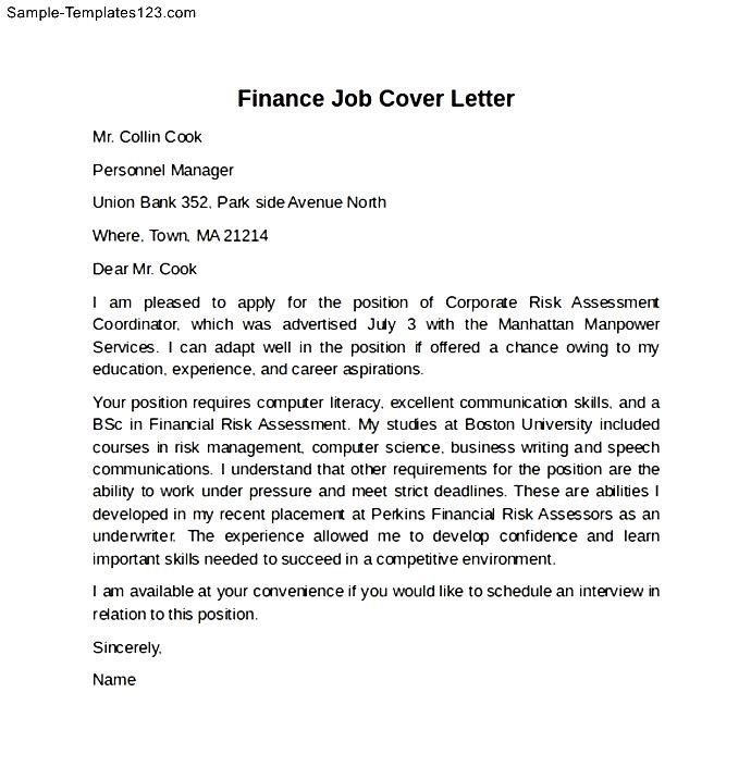Finance Job Cover Letter Example - Sample Templates - Sample Templates