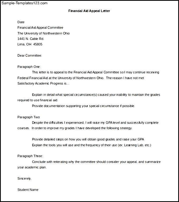 financial aid appeal letter template word doc sample