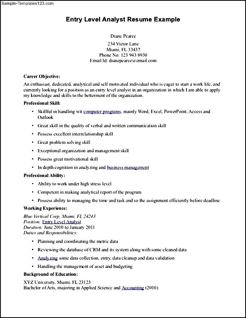 financial analyst resume example sample templates