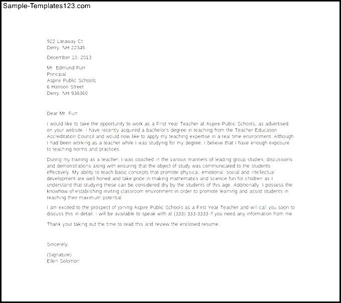 education cover letter first year teacher