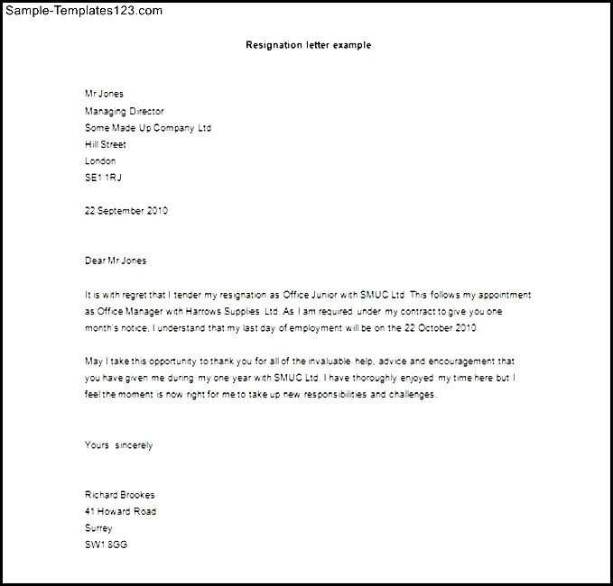 Letter of resignation template word free