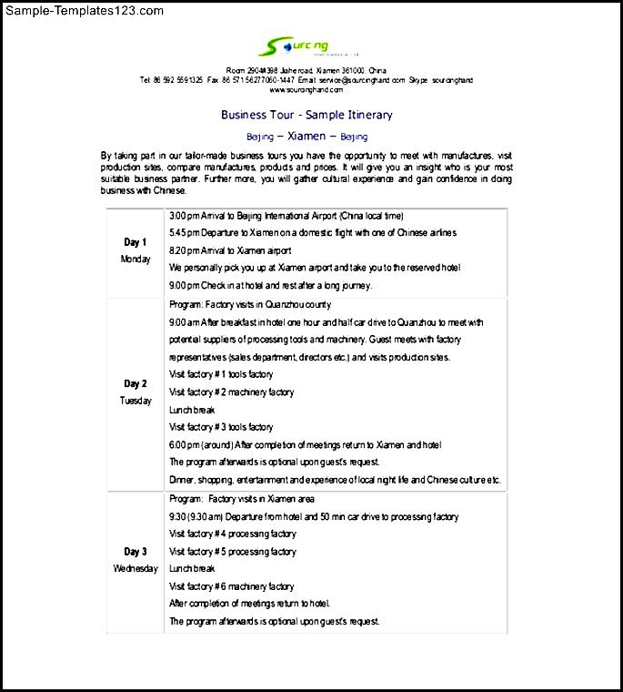 business trip agenda template