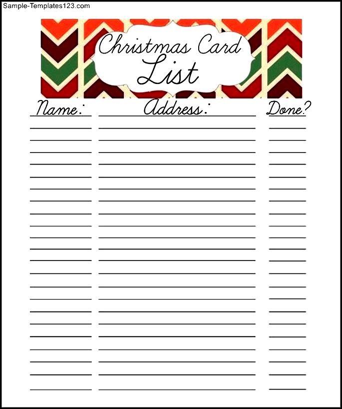 free christmas card list printable google doc sample templates