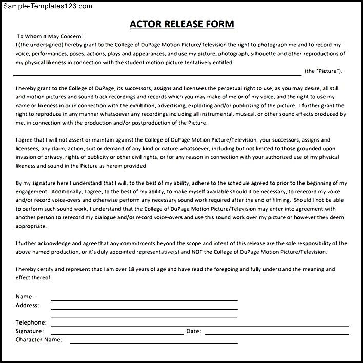 Beautiful Actor Release Forms Publicity Release Form Sample Ideas 41