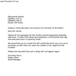 hotel apology letter template
