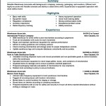 Free Resume Sample Warehouse Worker