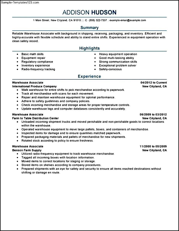 Free Resume Sample Warehouse Worker - Sample Templates ...