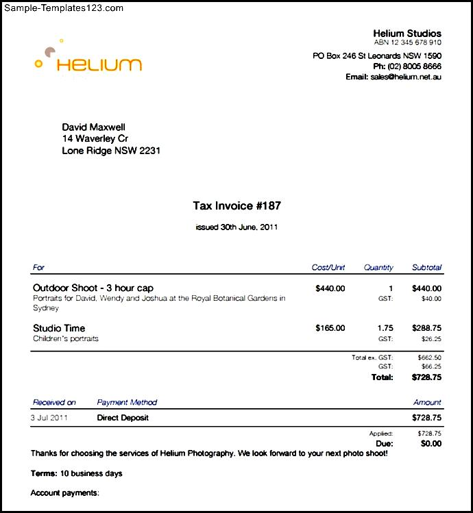 Freelance Photography Invoice Template Sample Templates Sample