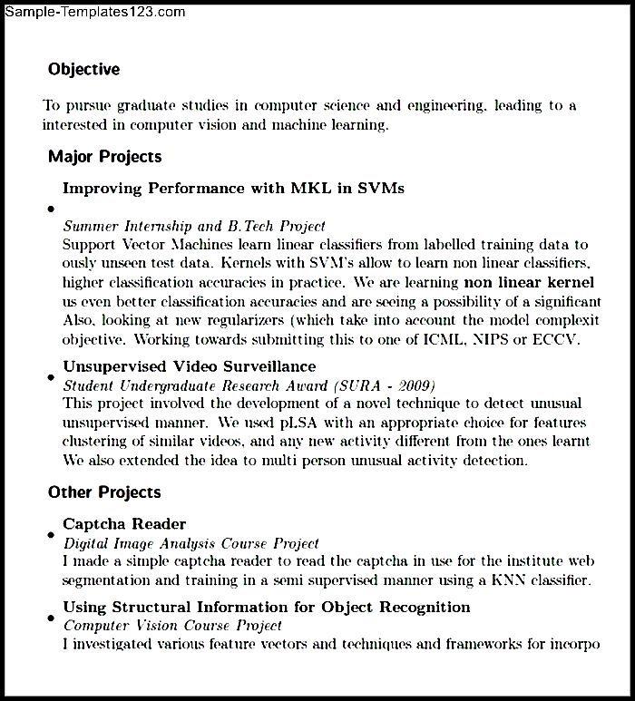 pdf format of resume for fresher