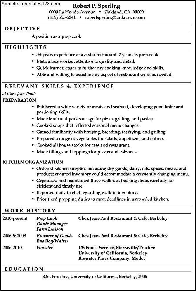 functional resume sample prep cook  sample templates