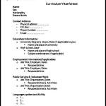 General CV Template Format