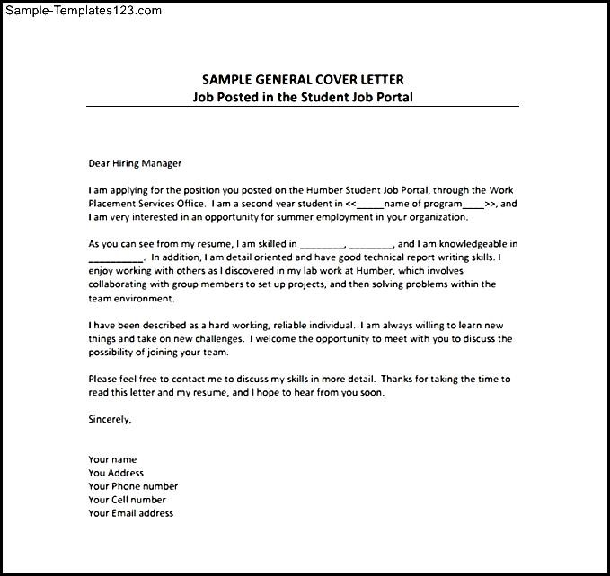 General Cover Letter PDF Template Free Download