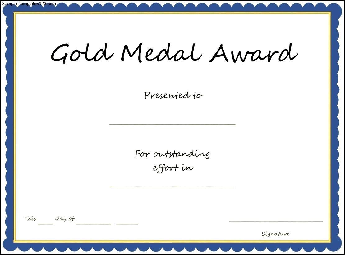 Gold Medal Award Certificate Template Sample Templates Sample