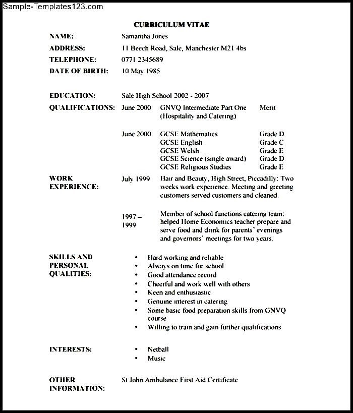 Hairdressing Cv Template Example  Sample Templates  Sample Templates