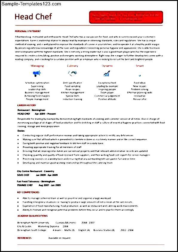 head chef resume templates - sample templates
