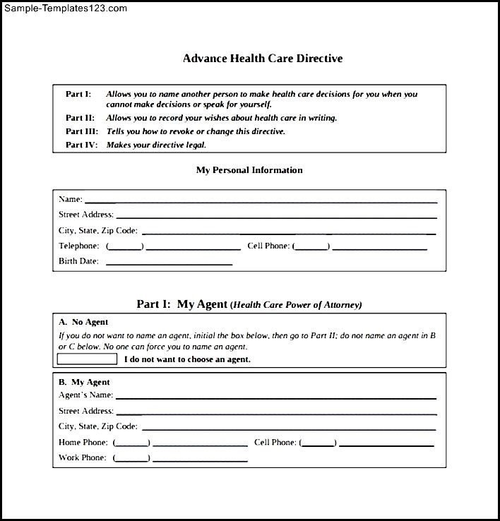 Medical Directive Template