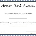 Honor Roll Award Certificate Template