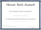 Honor Roll Award Certificate Template