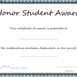 Honor Student Award Certificate Template